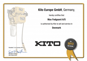 Kito Distributor Certificate Max Fodgaard 2013