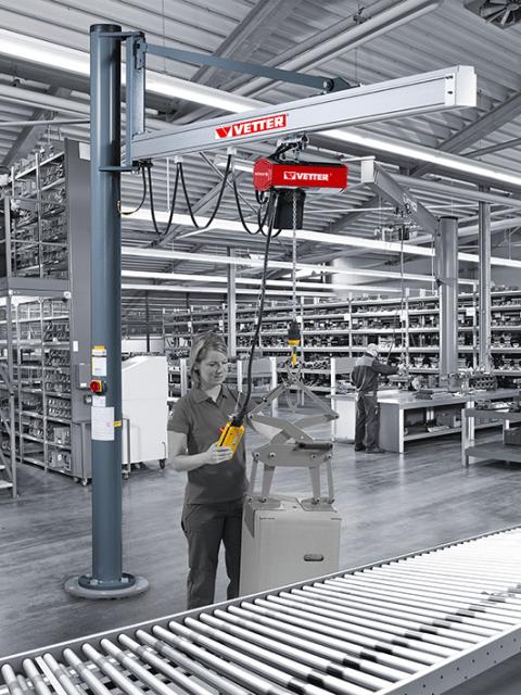 Søjlesvingkran med aluminiumsprofil udligger