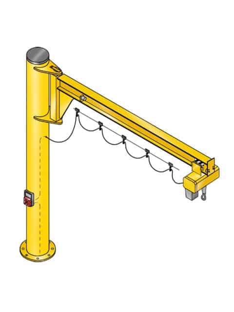 Assistent Væg- og søjlesvingkran er designet for at opnå maksimal løftehøjde under udliggeren, så den kan anvendes på arbejdspladser med lavt til loftet og i trange områder.