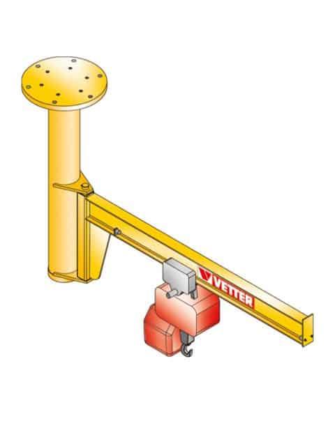 Loftsmonteret svingkran med op til 100 t i kapacitet og med udlægger op 20 meter