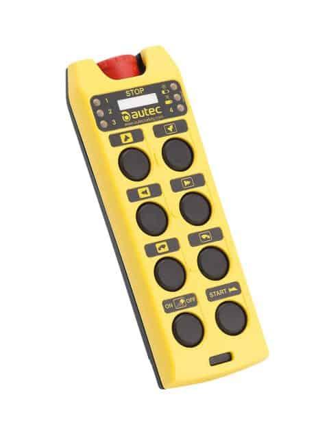 Autec Air er en serie radiostyringer med kompakte, ergonomiske håndsendere for fjernbetjening af kraner, taljer, løfteanordninger, automation og materialehåndtering.