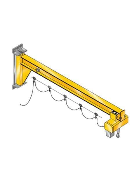 Assistent Vægsvingkran er designet for at opnå maksimal løftehøjde under udliggeren, så den kan anvendes på arbejdspladser med lavt til loftet og i trange områder.