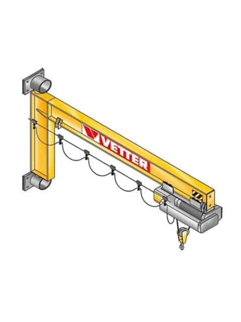 Geselle svingkran anvendes i produktionshaller eller ved individuelle arbejdsstationer