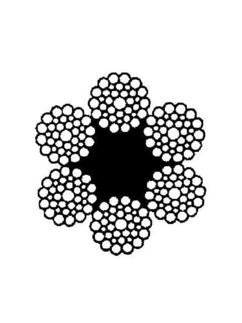 Højrekrydsslået stålwire 6x36 med seks kordeller