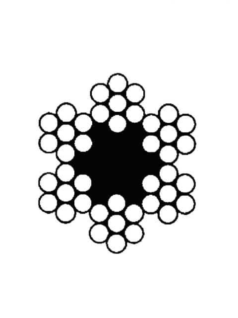 Højrekrydsslået stålwire 6x7