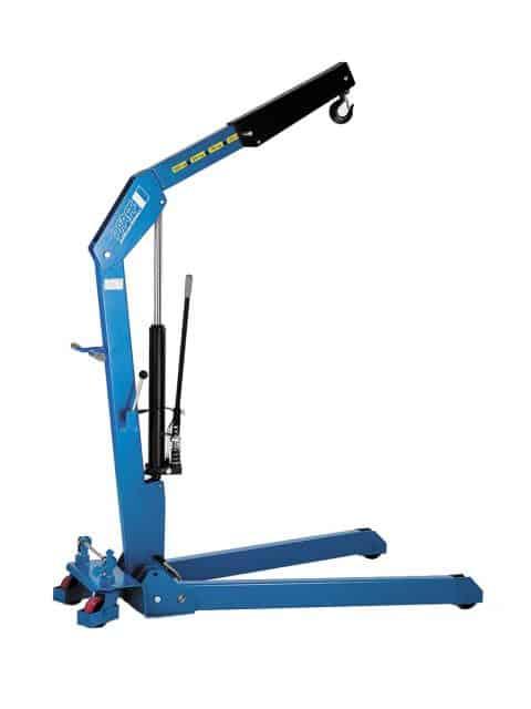 Hydraulisk værkstedskran til montering og fjernelse af motorer og til lastning og losning paller