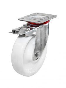 Hvide kunststofhjul af polypropylene (200-1.000 kg)