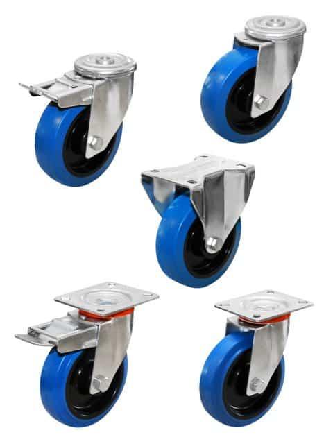 Superelastiske gummihjul med nyloncenter