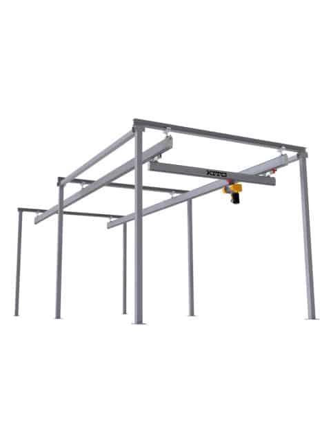 KITO letkransystem, fritstående traverskran til opgaver, hvor tagkonstruktionen ikke kan bære vægten